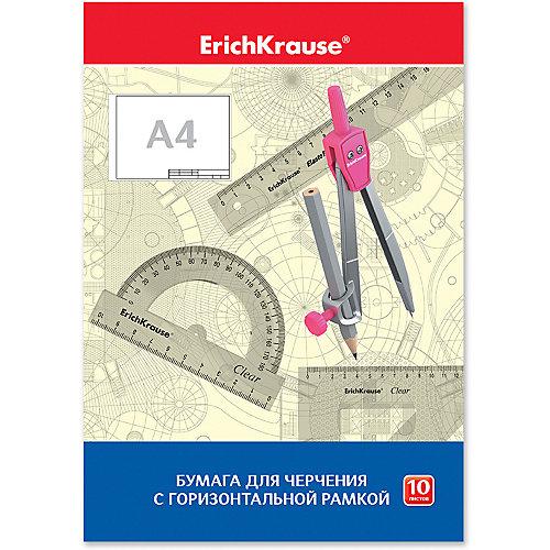 Бумага для черчения Erich Krause, А4, 10 листов, горизонтальная рамка от Erich Krause