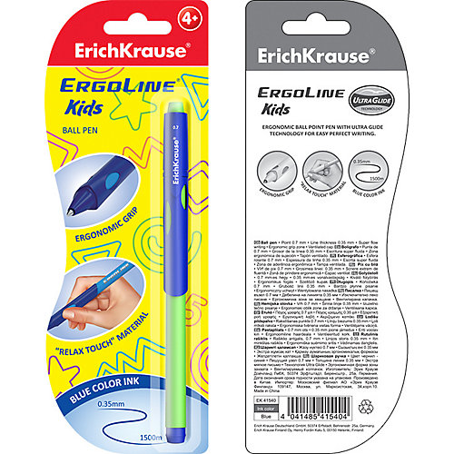 Ручка шариковая Erich Krause ErgoLine Kids, Ultra Glide Technology, синий от Erich Krause