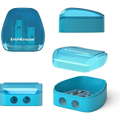Пластиковая точилка Erich Krause Duo, два отверстия, с контейнером от Erich Krause