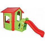 Игровой домик Pilsan Happy House Slide, зеленый/красный