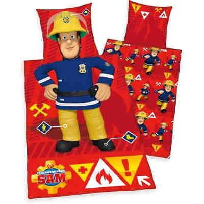 Wende Kinderbettwäsche Feuerwehrmann Sam Flanell 100 X 135 Cm