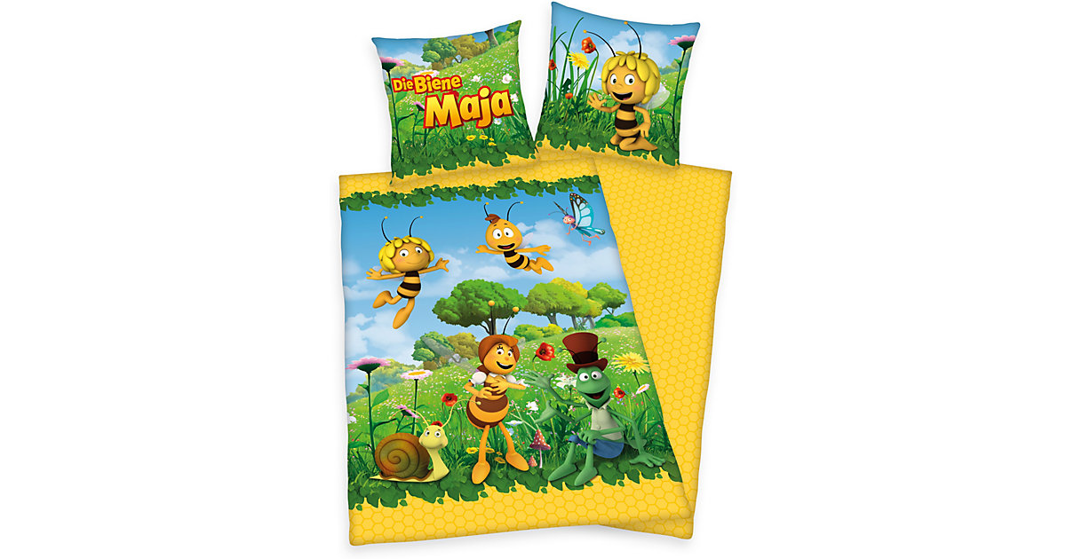 Kinderbettwäsche Biene Maja, Linon,  80 x 80 cm + 135 x 200 cm gelb/grün   Kinderzimmer > Textilien für Kinder > Kinderbettwäsche   Gelb - Grün   Baumwolle   Herding