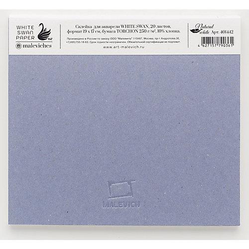 Склейка для акварели Малевичъ White Swan, 250 г/м, 19х17 см, 20 листов от Малевичъ