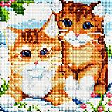 Алмазная мозаика Белоснежка Рыжие котята, 20х20 см