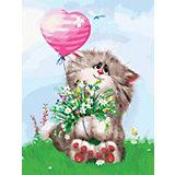 Живопись на холсте Белоснежка Кот с букетом, 30х40 см