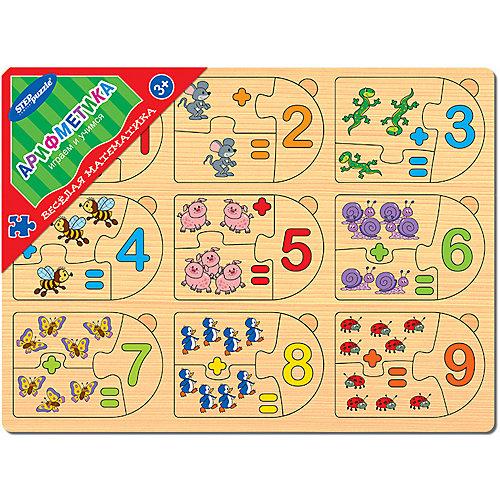 """Игра из дерева STEP puzzle """"Весёлая математика"""", Арифметика от Степ Пазл"""