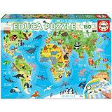 """Пазл Educa """"Животные. Карта мира"""", 150 деталей"""