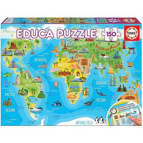 """Пазл Educa """"Достопримечательности. Карта мира"""", 150 деталей от Educa"""