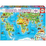 """Пазл Educa """"Достопримечательности. Карта мира"""", 150 деталей"""