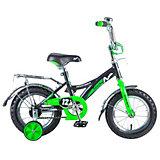 """Двухколесный велосипед Novatrack Strike 12"""", черно-зеленый"""