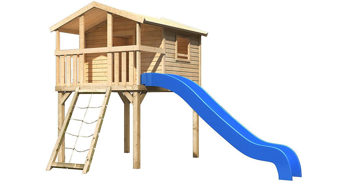 KARIBU · Stelzenhaus Benjamin mit Netzrampe und Rutsche blau