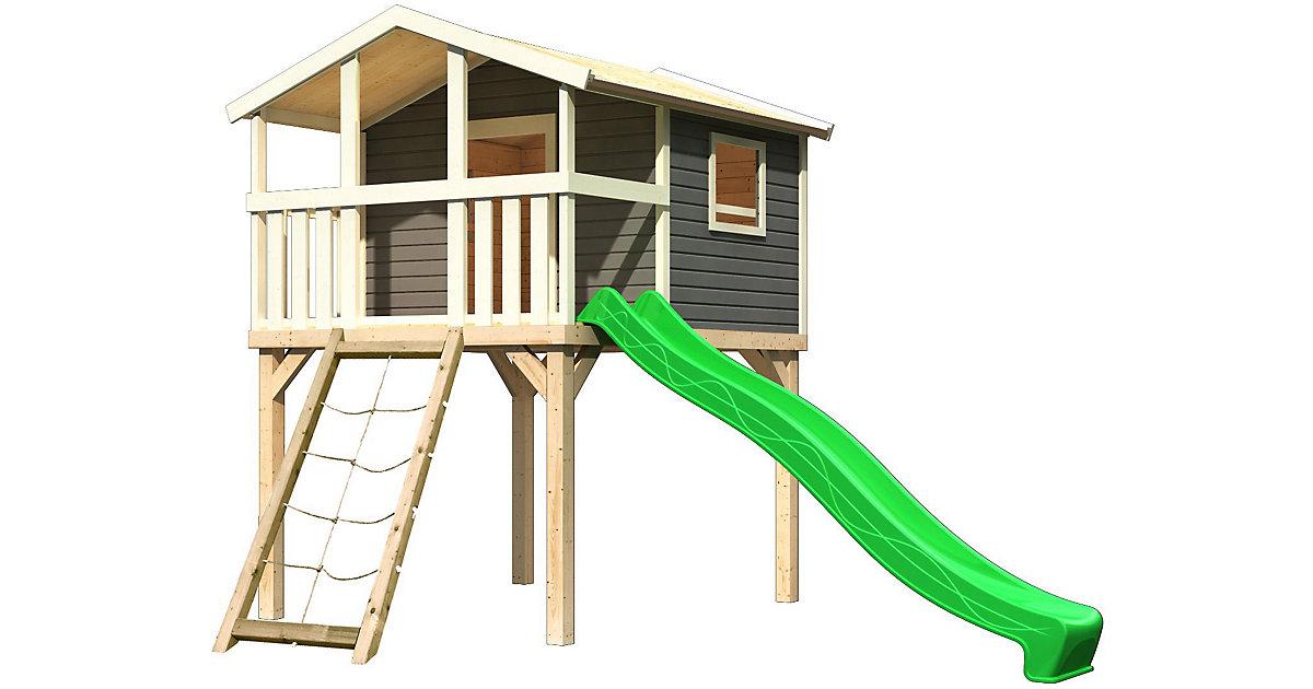 KARIBU · Stelzenhaus Benjamin terragrau mit Netzrampe und Rutsche grün