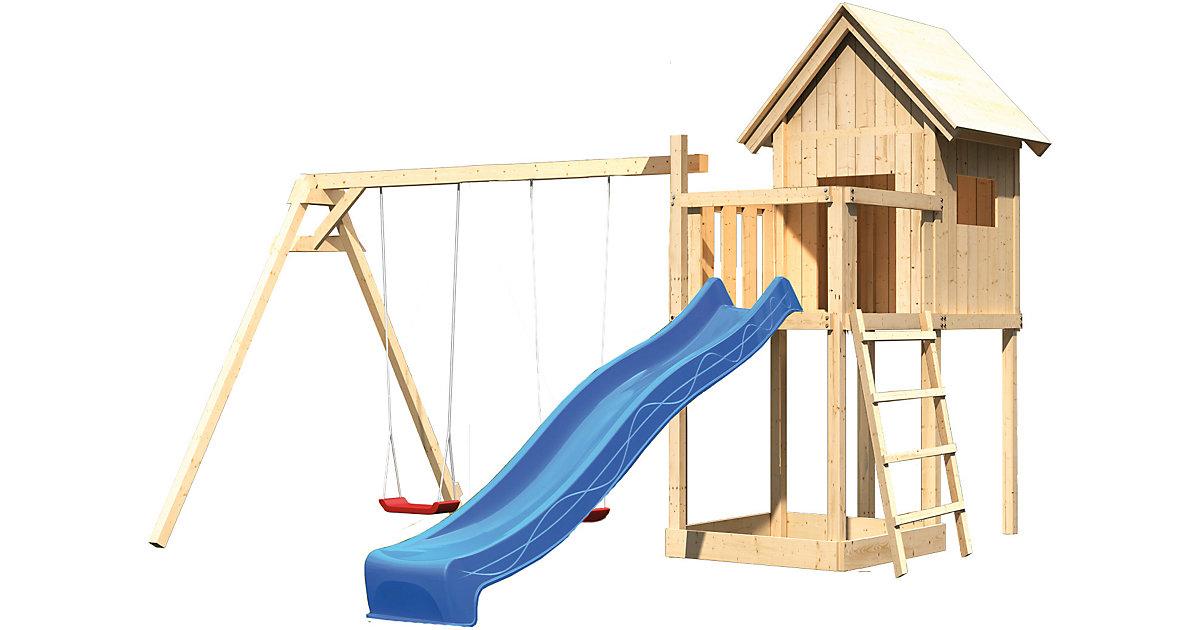 Spielturm Frieda mit Anbau, Satteldach, Doppelschaukel und Rutsche blau