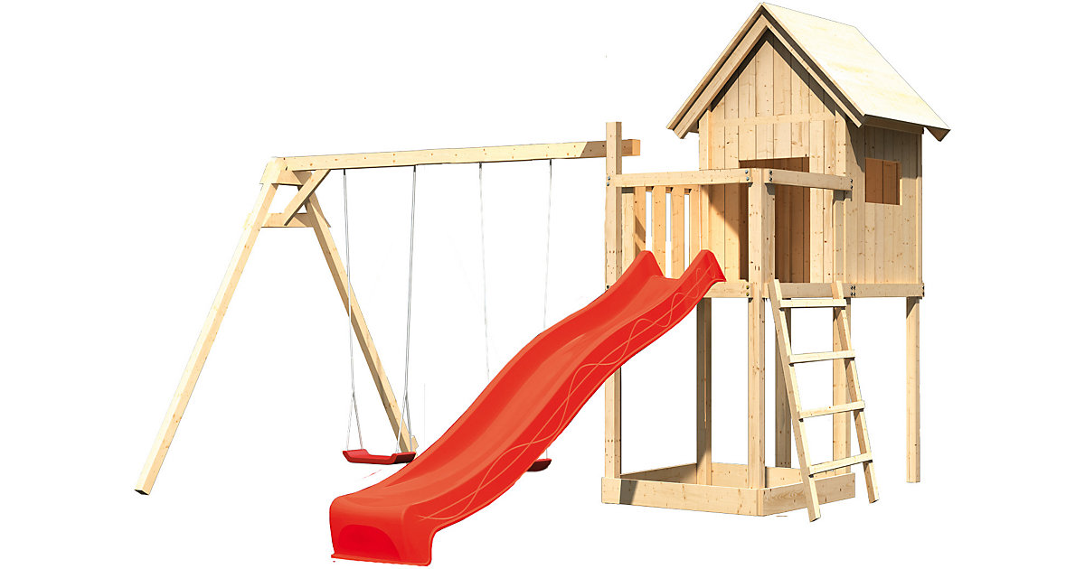 Spielturm Frieda mit Anbau, Satteldach, Doppelschaukel und Rutsche rot
