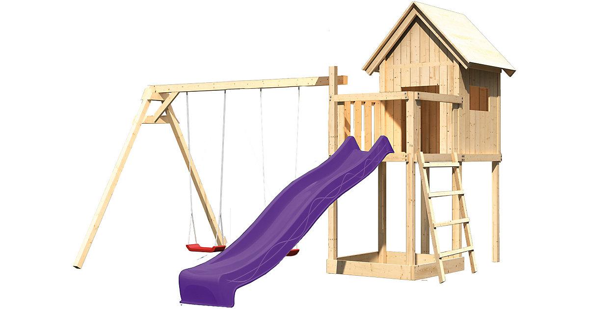 Spielturm Frieda mit Anbau, Satteldach, Doppelschaukel und Rutsche violett