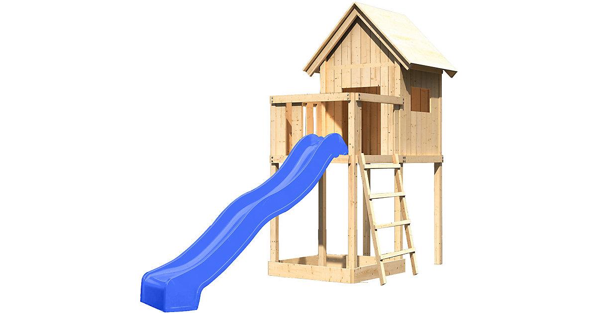 Spielturm Frieda mit Anbau, Satteldach und Rutsche blau