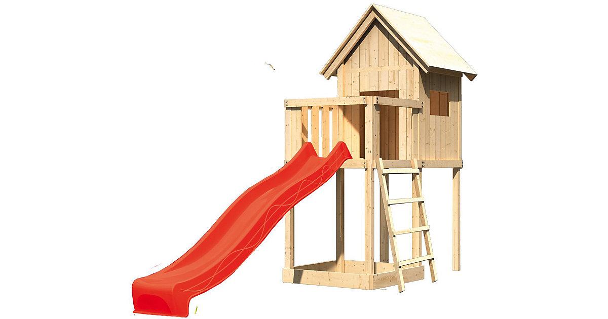 Spielturm Frieda mit Anbau, Satteldach und Rutsche rot