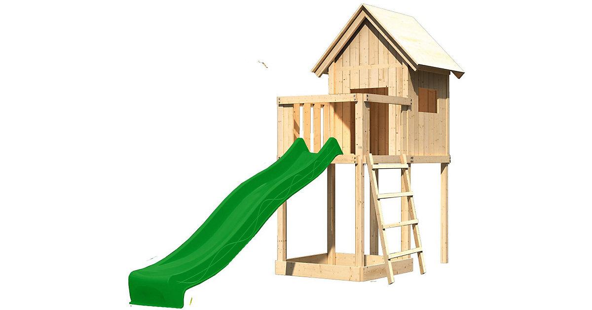 Spielturm Frieda mit Anbau, Satteldach & Rutsche, grün