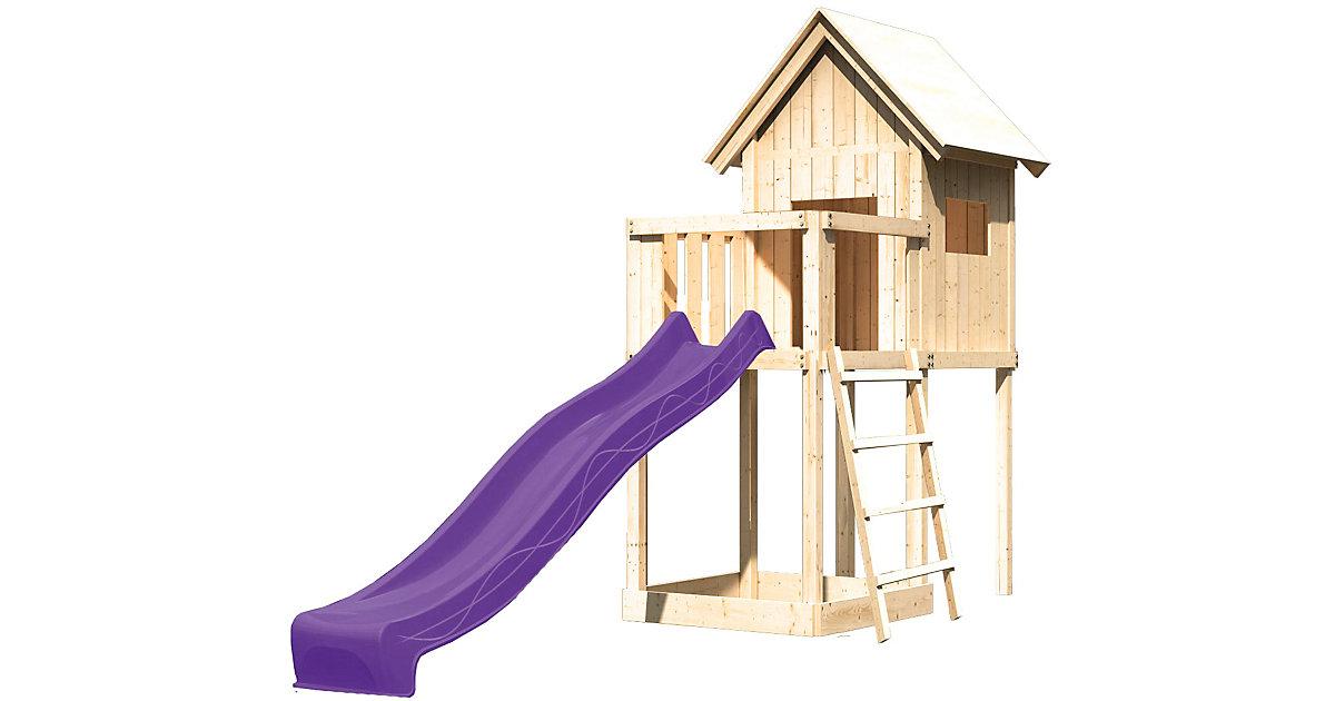 Spielturm Frieda mit Anbau, Satteldach und Rutsche violett