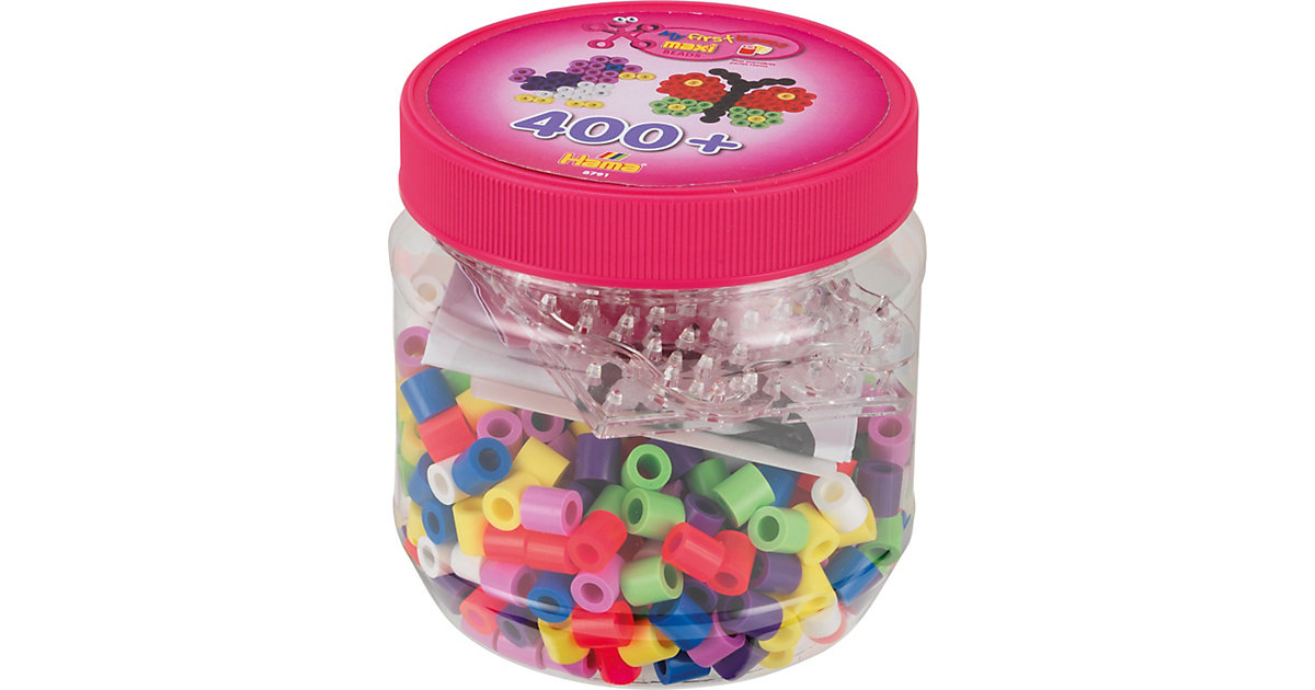 HAMA 8791 Dose pink mit 400 maxi-Perlen & Zubehör