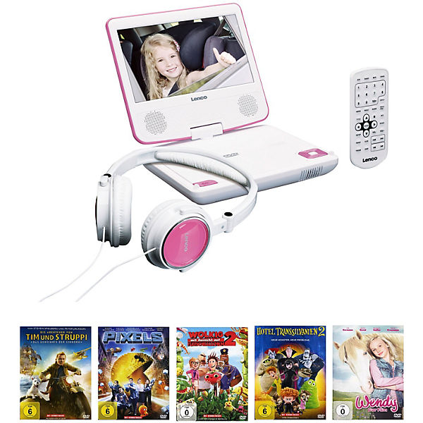 Lenco DVD-Player DVP-710 pink + Filmpaket 5 DVDs
