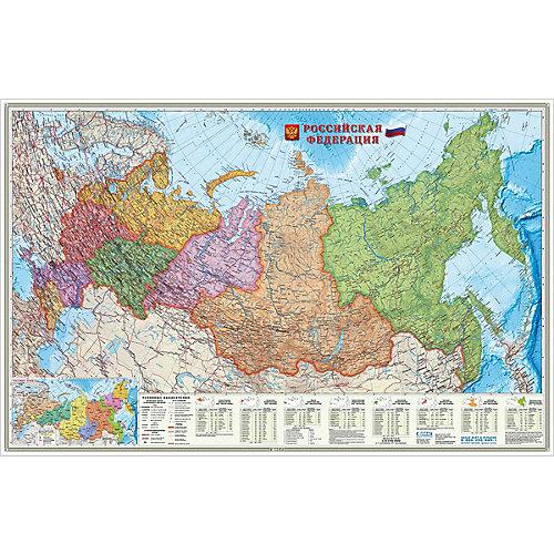 Карта настенная Геодом «Российская Федерация политико-административная Федеральные округа» от ГеоДом