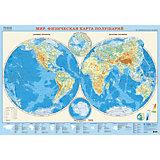 Карта настенная Геодом «Мир. Физическая карта полушарий»