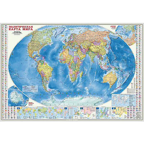Карта настенная Геодом «Мир Политический+Инфорграфика» от ГеоДом