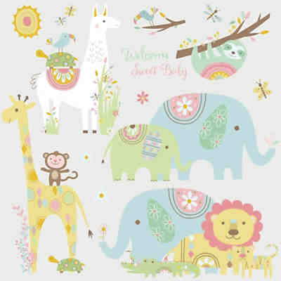 Wandsticker Tribal Baby Animals, 15-tlg.