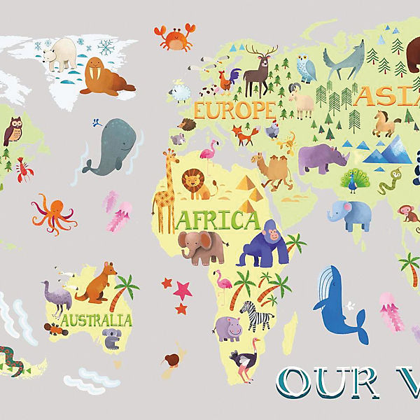 Wandsticker Kids World Map, 33-tlg., RoomMates