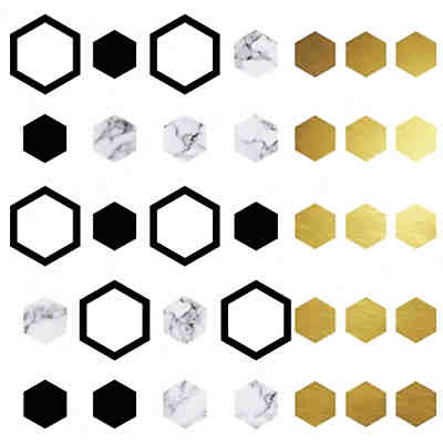 Wandsticker Hexagon, 35-tlg.