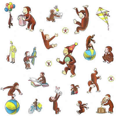 Wandsticker Curious George Storybook