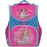 Рюкзак школьный Grizzly с мешком, голубой / жимолость