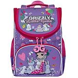 Рюкзак школьный Grizzly с мешком, лаванда / жимолость