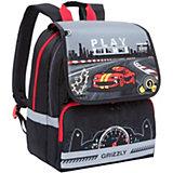 Рюкзак школьный Grizzly, черно-серый