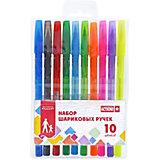Набор разноцветных шариковых ручек ACTION!, 10 цветов,полупрозр. корпус с упором