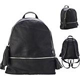 Рюкзак-мини ACTION, молодежный, разм. 33х23.5х12 см, черный, цвет фурнитуры-серебристый, иск. Кожа