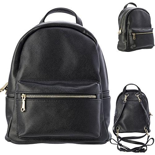 Рюкзак-мини ACTION, молодежный, разм. 28х22х12 см, черный, цвет фурнитуры-золотистый, иск. Кожа - черный от ACTION!