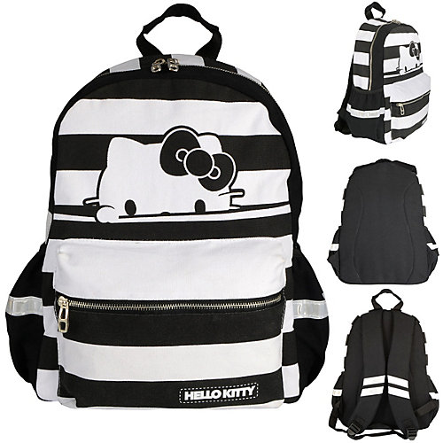 Рюкзак HELLO KITTY, разм.40х30х14 см, черно-белая полоска, мягкая спинка, из хлопковой ткани от ACTION!