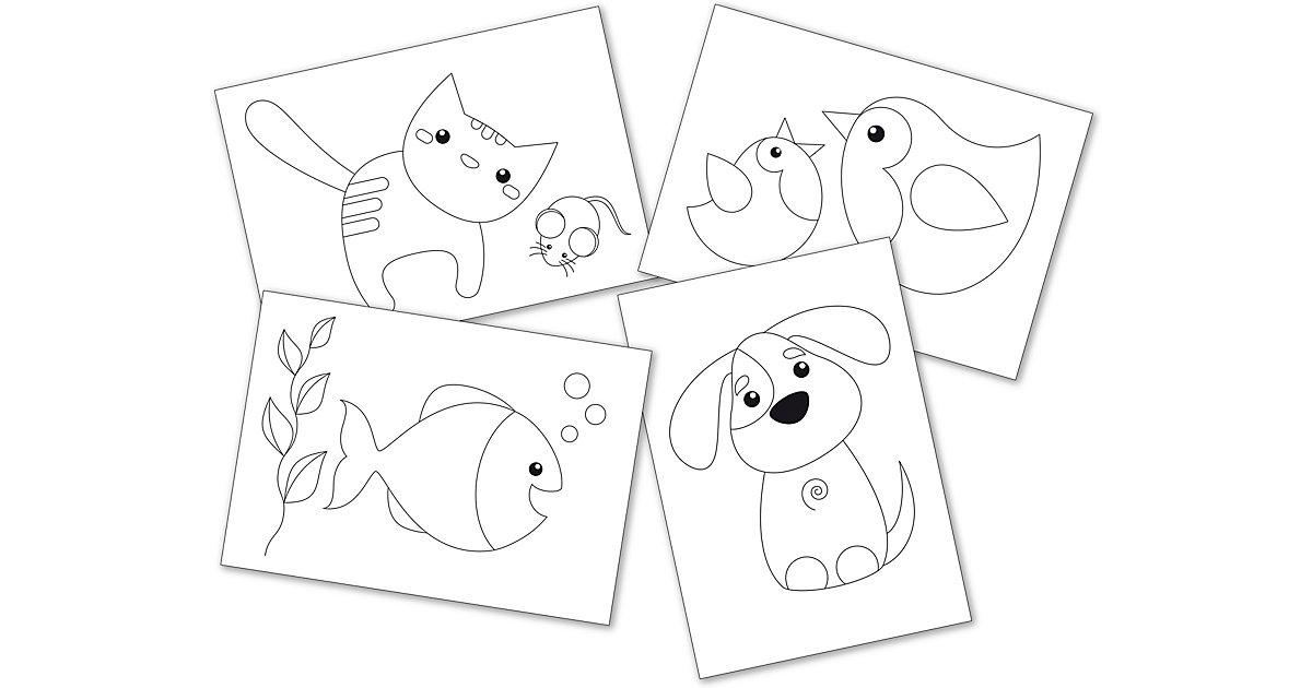 Prickelkarten A5 Haustiere, 12 Stück