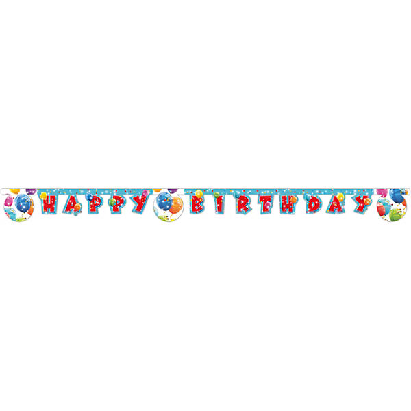Happy Birthday Girlande Sparkling Balloons