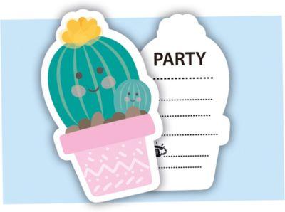 Einladungskarten Kaktus mit Umschlägen, 6 Stück