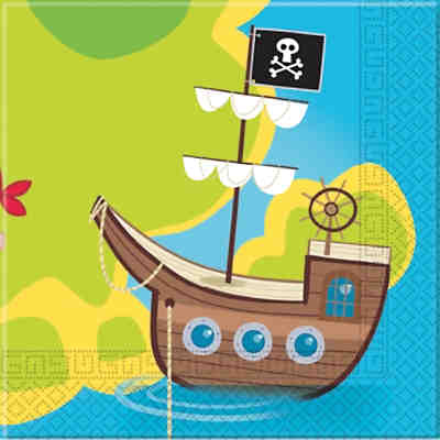 Servietten zweilagig Pirates Treasure Hunt 33 x 33 cm, 20 Stück
