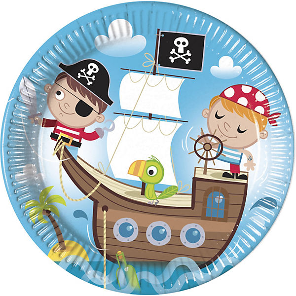 Pappteller Pirates Treasure Hunt 23 cm, 8 Stück