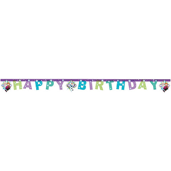 Happy Birthday Girlande Die Eiskönigin Snowflakes 200 x 14 cm