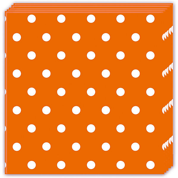 Servietten dreilagig Orange Dots 33 x 33 cm, 20 Stück