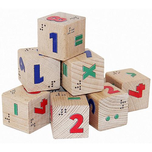 Кубики Краснокамская игрушка Цифры со шрифтом Брайля