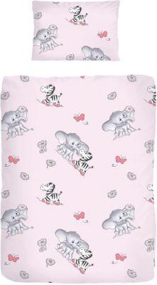 40x60 Elefant Babybettw/äsche Grau Rosa Kinderbettw/äsche Bettw/äsche 100x135