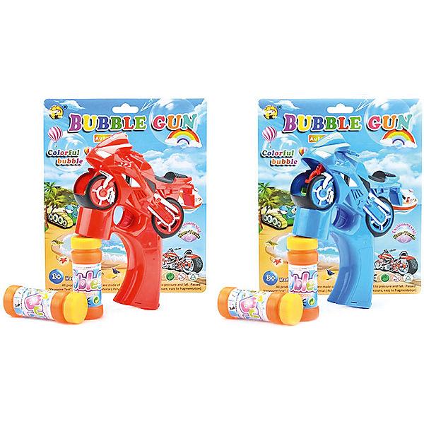 """Мыльные пузыри 1Toy """"Мы-шарики!"""" Пистолет на батарейках в виде мотоцикла, 2 бутылочки по 50 мл"""