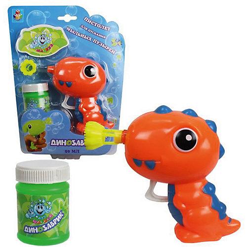 """Мыльные пузыри 1Toy """"Мы-шарики!"""" Пистолет механический в виде динозаврика, оранжевый, 50 мл от 1Toy"""